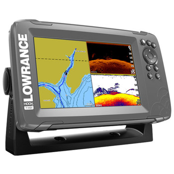 Lowrance HOOK²-7 SplitShot Transducer and Coastal Maps Fishfinder - Side View