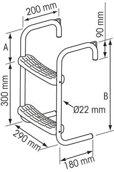 Plastimo Pontoon S/S Ladder 2 Steps Crv 75Mm - measurements