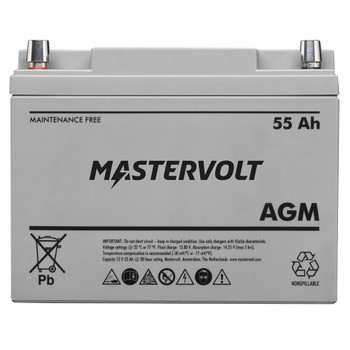 Mastervolt AGM Battery - 12V/55Ah - Group 24 - Straight View