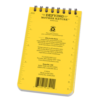 Rite In The Rain 135 Pocket Notebook - Yellow - back