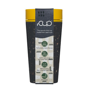 rCUP Reusable Coffee Cup - 12oz - Black & Mustard  - eco friendly