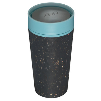 rCUP Reusable Coffee Cup - 12oz - Black & Teal