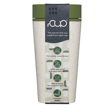 rCUP Reusable Coffee Cup - 12oz - Cream and Green - eco friendly
