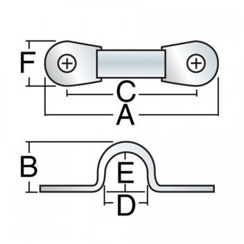 Harken Low-Profile Standard Eyestrap 201 - 38mm - Dimension View