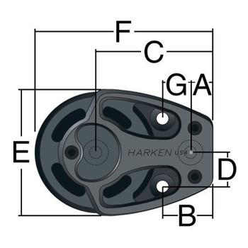 Harken Aluminum Footblock 3220 - 57mm - Dimension View