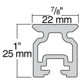 Harken 22mm High-Beam Slide Bolt Track 2721.1M - 1m - Dimension View