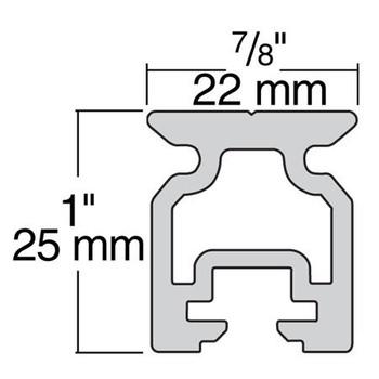 Harken 22mm High-Beam Slide Bolt Track 2721.1M - 1m - Dimension View