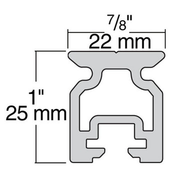 Harken Small Boat 22mm High-Beam Track - 1.2m with 100mm Hole Spacing -Dimension View