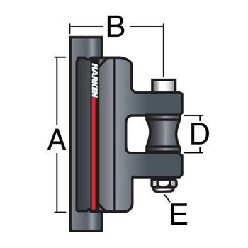 Harken System A Intermediate CB Battcar 3812 - 22mm - Dimension View