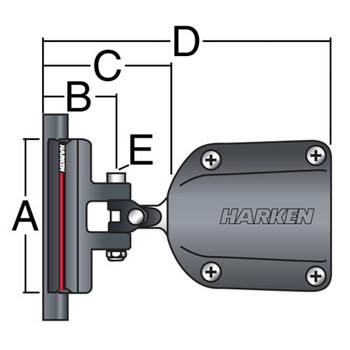 Harken System A 40mm Receptacle CB Battcar - 22mm - Dimension View