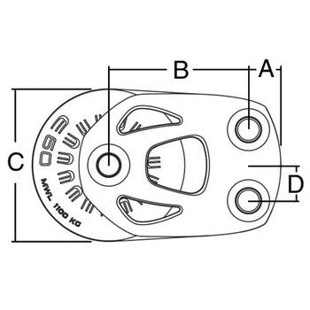 Harken Aluminum Element Single Footblock 6237 - 45mm - Dimension View