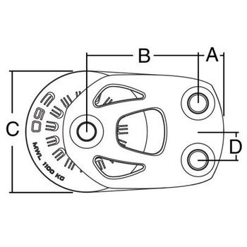 Harken Aluminum Element Double Footblock - 60mm - Dimension View