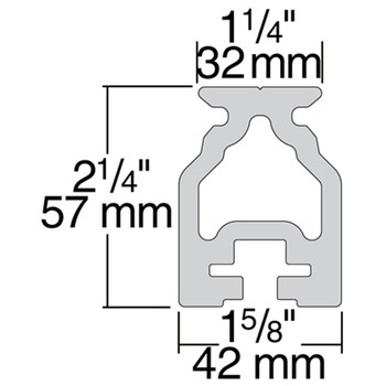 Harken 32mm High-Beam Track R32HB.1.5M - 1.8m - Dimension View