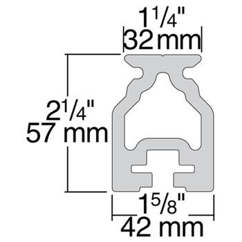 Harken 32mm Captive Ball High-Beam Track - 2.5m - Dimension View