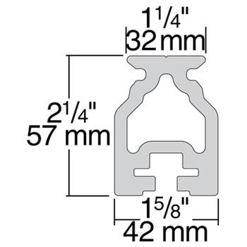 Harken 32mm Captive Ball High-Beam Track R32HB.2.5M - 2.5m - Dimension View