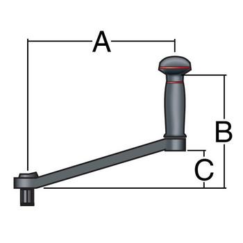 Harken Aluminum Double-Grip Lock-In Winch Handle B10ADL - 254mm - Dimension View