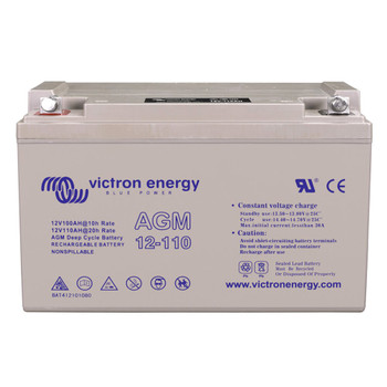 Victron Energy AGM Deep Cycle Battery with Threaded Insert Terminals - 12V/110Ah (M8) - Front View
