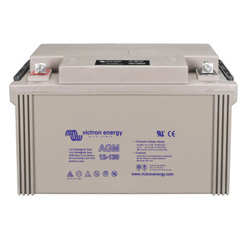 Victron Energy AGM Deep Cycle Battery with Threaded Insert Terminals - 12V/130Ah (M8) - Front View