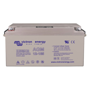 Victron Energy AGM Deep Cycle Battery with Threaded Insert Terminals - 12V/165Ah (M8) - Front View
