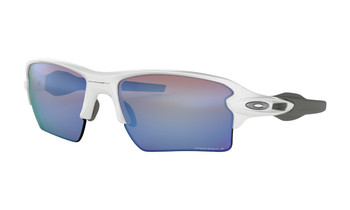 Oakley Flak 2.0 XL Sunglasses - Polished White / Prizm Deep Water Polarized Angled