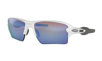Oakley Flak 2.0 XL Sunglasses - Polished White / Prizm Deep Water Polarized Angled