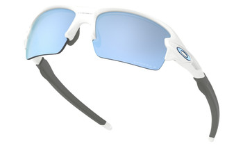 Oakley Flak XS Sunglasses (Youth Fit) - Polished White / Prizm Deep Water Polarised Lower Angle