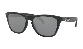 Oakley Frogskins Sunglasses - Matte Black / Prizm Black Polarised Angled