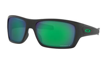 Oakley Turbine Sunglasses - Matte Black / Prizm Jade Polarised Angled