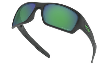 Oakley Turbine Sunglasses - Matte Black / Prizm Jade Polarised Lower Angle