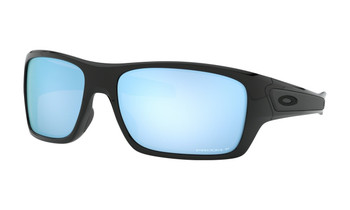Oakley Turbine Sunglasses - Polished Black / Prizm Deep Water Polarised Angled