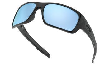 Oakley Turbine Sunglasses - Polished Black / Prizm Deep Water Polarised Lower Angle