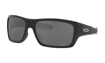 Oakley Turbine Sunglasses - Polished Black / Prizm Black Polarised Angled
