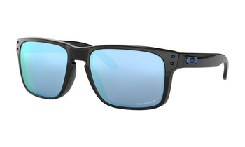 Oakley Holbrook Sunglasses - Polished Black / Prizm Deep Water Polarised Angled
