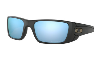 Oakley Fuel Cell Sunglasses - Matte Black / Prizm Deep Water Polarised Angled