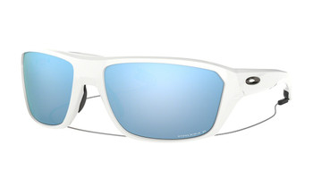 Oakley Split Shot Sunglasses - Polished White / Prizm Deep Water Polarised Angled