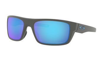 Oakley Drop Point Sunglasses - Matte Dark Grey / Prizm Sapphire Polarised Angled