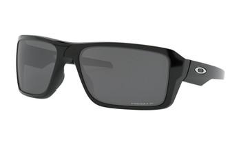 Oakley Double Edge Sunglasses - Polished Black / Prizm Black Polarised Angled