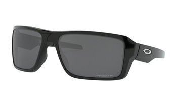 Oakley Double Edge Sunglasses - Polished Black / Prizm Black Polarised Angled
