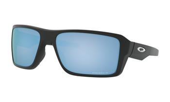 Oakley Double Edge Sunglasses - Matte Black / Prizm Deep Water Polarised Angled