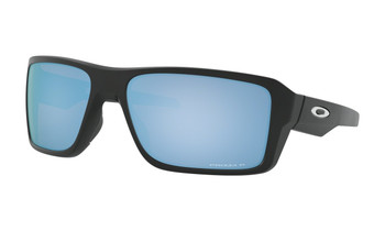 Oakley Double Edge Sunglasses - Matte Black / Prizm Deep Water Polarised Angled