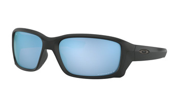 Oakley Straightlink Sunglasses - Matte Black / Prizm Deep Water Polarised Angled