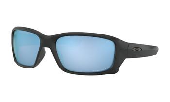 Oakley Straightlink Sunglasses - Matte Black / Prizm Deep Water Polarised Angled