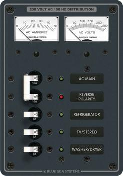 Blue Sea AC Main Panel + 3 Positions 230v AC - 8509