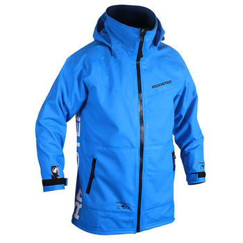 Rooster Pro Aquafleece Rigging Coat Men - Signal Blue - hood down