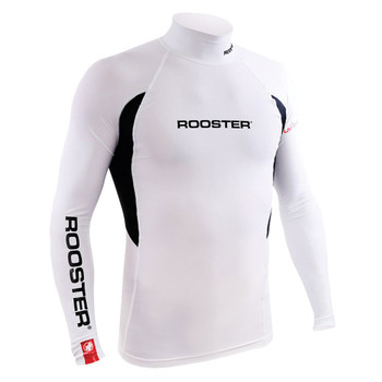 Rooster long sleeved rash vest -  white