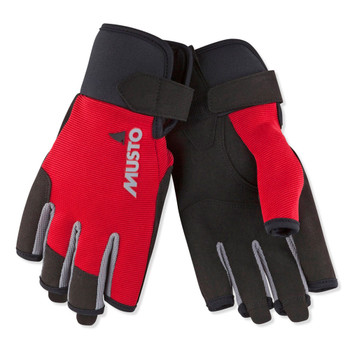 Musto Essential Sailing Short Finger Gloves - Red