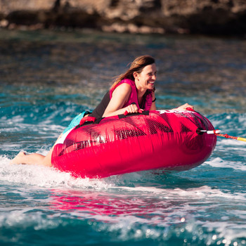 Jobe Rumble 1 Person Hot Pink Towable in action