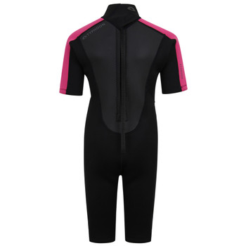 Typhoon Swarm3 Child's Shorty Wetsuit 250993 in black/pink - back