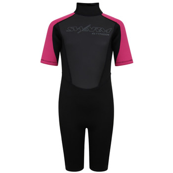 Typhoon Swarm3 Child's Shorty Wetsuit 250993 in black/pink - front