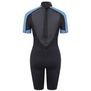 Typhoon Swarm3 Shorty Women's Wetsuit in black/blue steel - back